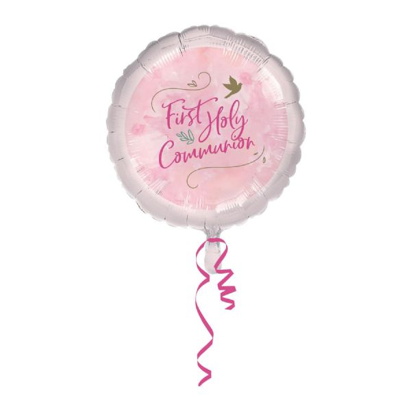 Pink First Holy Communion Standard Foil Balloons